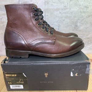 Frye Bowery Lace Up Combat Boot Size 12 Mens Brown